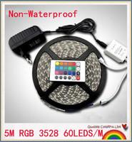 5M RGB LED SHAND SMD 3528 Pas d'étanche 300 LED Strip lumière + 24 Touches IR Remote + 12V 2A Alimentation Free Shippin
