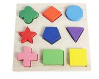 Ahşap Geometri Blok Renkli 9 Şekiller Bulmaca Oyun Yapı Montessori Eearly Öğrenme Eğitim Çocuklar Bebek Oyuncak