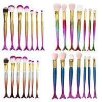 Nouvelle vente chaude 7pcs / set pinceau de maquillage sirène avec maquillage pinceaux sourcils eyeliner mélange contour poudre de fond coloré DHL gratuit A08