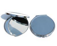 75mm Blank miroirs de poche compact cosmétiques Silver cas Miroir pour le bricolage personnaliser Gravure # 18122-1