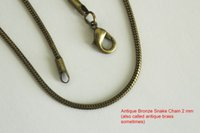 2MM Antique Bronze Smooth Snake Chains Necklace Jewelry Anti...