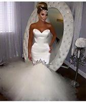 2016 Nyaste Sexiga Sweetheart White Tulle Bröllopsklänningar Billiga Beaded Mermaid Bröllop Bröllopklänningar