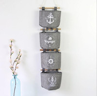 Wall Sundry Navy Fabric Cotton Pocket Hanging Holder Storage Bag Rack  Cosmetic Organizer Wall Hanging Storage Bags Basket Box KKA2831