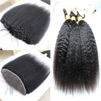 Exquisito Kinky Straight Virgin Malaysian Weaves Closed 13x4 Oído a la oreja Completo Lace Frontals Closure con cabello humano Bundles Yaki grueso