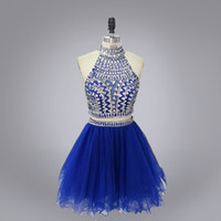 Echtes Foto 2016 Luxus wulstige 2 Stück kurz Prom Kleid sexy schiere Hals High Neck backless zweiteilige kurze Heimkehr Kleid