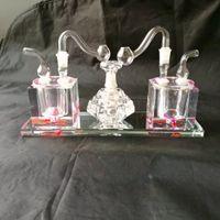 Mayoristas de envío gratis ----- 2018 nueva olla doble de vidrio coloreado balsa / bong de vidrio, con una lámpara de queroseno, la entrega al azar de color