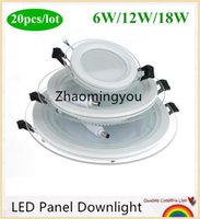 20pcs Dimmable LED Panel Downlight 6W 12W 18W Round glass ce...