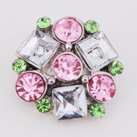 10PCS Lot Fashion Colorized Rhinestones Metal Snap Button Mi...