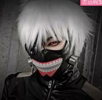 Anime Tokyo Ghoul Cosplay Peruk Guru Ken Kane Gümüş Beyaz Kısa Düz Fiber Saç Peruk Saç Postiş Parti Cadılar Bayramı Noel Kostüm Sahne