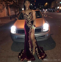 African Velvet Mermaid Prom Dresses Sweetheart Gold Applique...