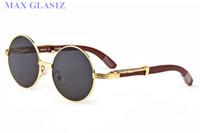 gafas de sol de los hombres de las mujeres redondas wrapeyeglasses tonos de madera nuevos deportes de vidrio sol de la manera UV400 marco de las lentes completos de alta calidad con la caja de los casos