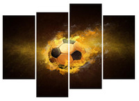 YIJIAHE Modern Print Canvas Painting Football 4 Piece Canvas...