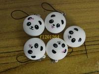 5 pz Spedizione gratuita 4 cm Jumbo Panda Charms Squishy Panini Kawaii Pane Cell Phone Key / Bag Strap Pendente Squish