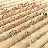 40% di sconto Anello in oro rosa Nuovo anello di coda coreano Qualità all'ingrosso argento nozze amore carino fiore perla corona foglia anello di cristallo strass