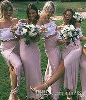 Chic abiti da damigella d'onore in pizzo rosa con spacco laterale Manica corta Abiti da cerimonia Occasioni sexy Abiti da damigella d'onore in raso lungo