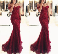 2017 Cheap Hunter Green Burgundy Red Evening Dresses Off Sho...