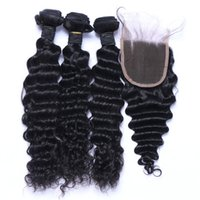 Deep Wave Hair Weft With Closure 8A Quality Unprocessed Braz...