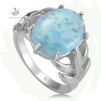 Larimar und weiße Zirkonia 925 Sterling Silber Schmuck Ring SS - 3801 Größe # 6 7 8 9 Promotion begeisterte Bewertungen edle großzügige neue Muster