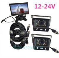 "12-24V سيارة عكس كيت 7 ""شاشة LCD + 2 CCD IR كاميرات النسخ الاحتياطي ل فان"