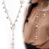Mode femmes Bijoux Pendentif cristal Choker Chunky Déclaration chaîne Collier plastron chaîne Pull fleur Colliers de perles