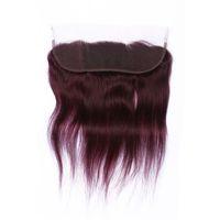 Yeni Varış Saf Renk # 99J Şarap Kırmızı Düz 13 * 4 Dantel Frontal Kapatma Beached Bebek Saç Bordo İnsan Saç Dantel Fronts