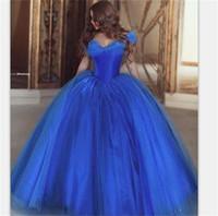Vintage Princess Ball Gown Quinceanera Vestito dalla spalla Ice Blue Abiti da sera Abiti da ballo Dresses Piano Lunghezza del pavimento di lusso 2017 a buon mercato