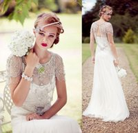 Vintage Great Gatsby Sparkly Crystal Beach Wedding Dresses J...