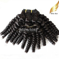Bella Hair® Funmi nuevo estilo de pelo humano hairweft 8A peruana Virgen del pelo Tía Funmi Sprial Curl Color natural sin procesar cabello humano teje
