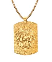 Grand plaqué or en acier inoxydable Tête de lion Médaillon Pendentif Collier pour homme