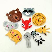 Botones de madera cabeza de animal lindo mezclado 2 agujeros para caja de regalo hecha a mano Scrapbook Craft Party Decoración DIY favor Accesorios de costura