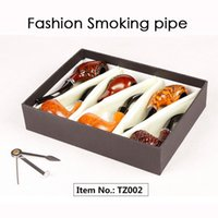 / Coffret Mode Cadeau Bois Couleur Pipes Matériau Métal Acrylique Packaging Pipes For Smoking 4 Types TZ001 / TZ002 / TZ004 / TZ005