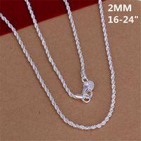 Горячая продажа 2MM вспышка витой канат ожерелье стерлингового серебра гальваническим ожерелье STSN226, оптовые способа 925 серебряные цепи ожерелье завод
