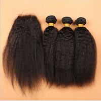7A малайзийский кудрявый прямые человеческие волосы с закрытием шнурка 4 шт. лот малайзийский итальянский грубый Яки волос ткать пучки 3 шт. с закрытием