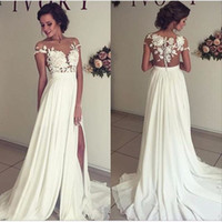 Sexy Sheer Summer Chiffon Wedding Dresses Lace Top Short Sle...