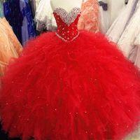 Платья Quinceanera 2021 Принцесса Бальное платье Красные фиолетовые Сладкие 16 Платьев Бисероплетенные блестки Кружевые Платья Руки Плюс Размер Vestidos de 15