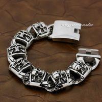 Cinturino in acciaio inossidabile 316L pirata cranio a maglia da uomo in acciaio inossidabile 5T002