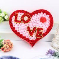 4 색 사랑의 테마 선택 목욕 바디 하트 로즈 꽃잎 바디 향수 꽃 비누 100PCS 발렌타인 데이 선물