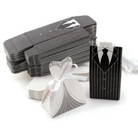 100Pcs Candy Boxes Tuxedo Dress Gown Bride and Groom Wedding...