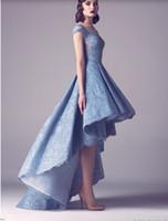 2021 mais novo indiano Lace alta baixo azul Curto Prom Vestidos Manga comprida Mulher moderna Prom Vestidos
