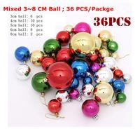 36 Pcs Misto 3 ~ 8 cm multi Cor Bola De Plástico Enfeites De Árvore de Natal Bolas De Natal Decorantion Festice Fontes Do Partido Festivo