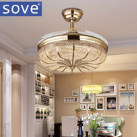 42 Inch Gold Modern LED Retractable Ceiling Fans With Lights Living Room  Home Decoration Folding Ceiling Fan Lamp 220 Volt
