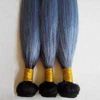 Brésilien deux tons armure de cheveux humains Cheveux raides 3pcs Lot extension de trame de cheveux humains Ombre 1B / gris 1B / vert non traité