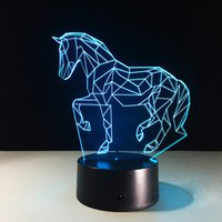 2017 3D Horse Illusion Night Lamp 3D Optical Lamp AA Battery...
