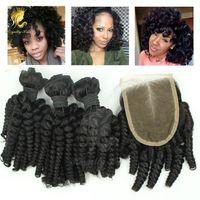 Kapatma Ile 3 veya 4 Adet Funmi kıvırmak İnsan Saç Atkı Ile malezya Saç Kapatma Royalty Saç Ürünleri