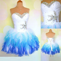2018 Stock Blue Organza Mini Vestidos de Fiesta Cortos con Cristal Moldeado Fuera del Hombro Lace Up Prom Graduation Cocktail Party Bata QC191