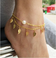 Faux Pearl Leaf Anklets Womens Ankle Bracelets Gifts For Her...