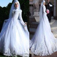 Abito da sposa a maniche lunghe Hijab Abito da sposa in pizzo in pizzo Applique Islamica Dubai Dubai Abiti da sposa Vestidos de Novia