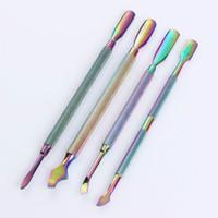 4 modèles disponibles Double-extrémités Poussoir Remover Remover Rainbow Acier Inoxydable Manucure Nail Art Tool 4Pcs / ensemble