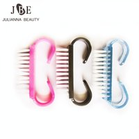 Wholesale- 10x Nail Art Plastic Cleaning Brush Finger Nail Care Dust Clean Brush With Handle Scrubbing Brush Tool File Manicur Nail Tool