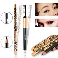 Sexy leopard wasserdicht augenbraue eyeliner bleistift 5 farben mode frauen schönheit make-up augenbraue enhancer mit pinsel bilden werkzeug